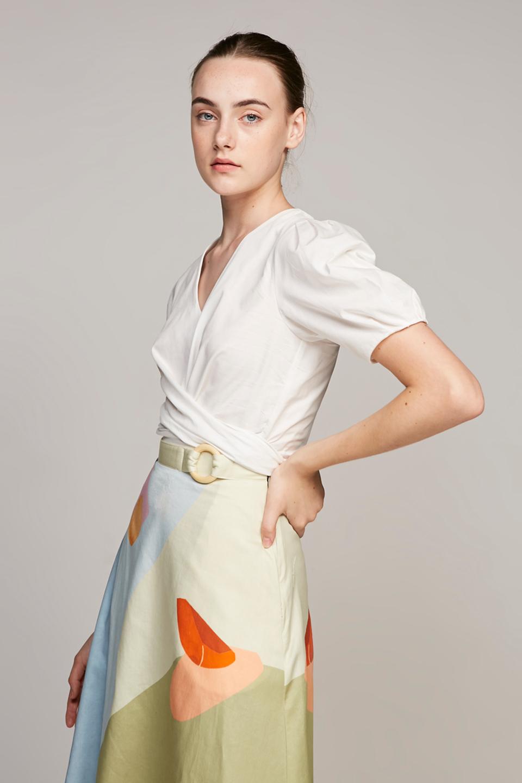 Pleat Sleeve Cotton Wrap Top