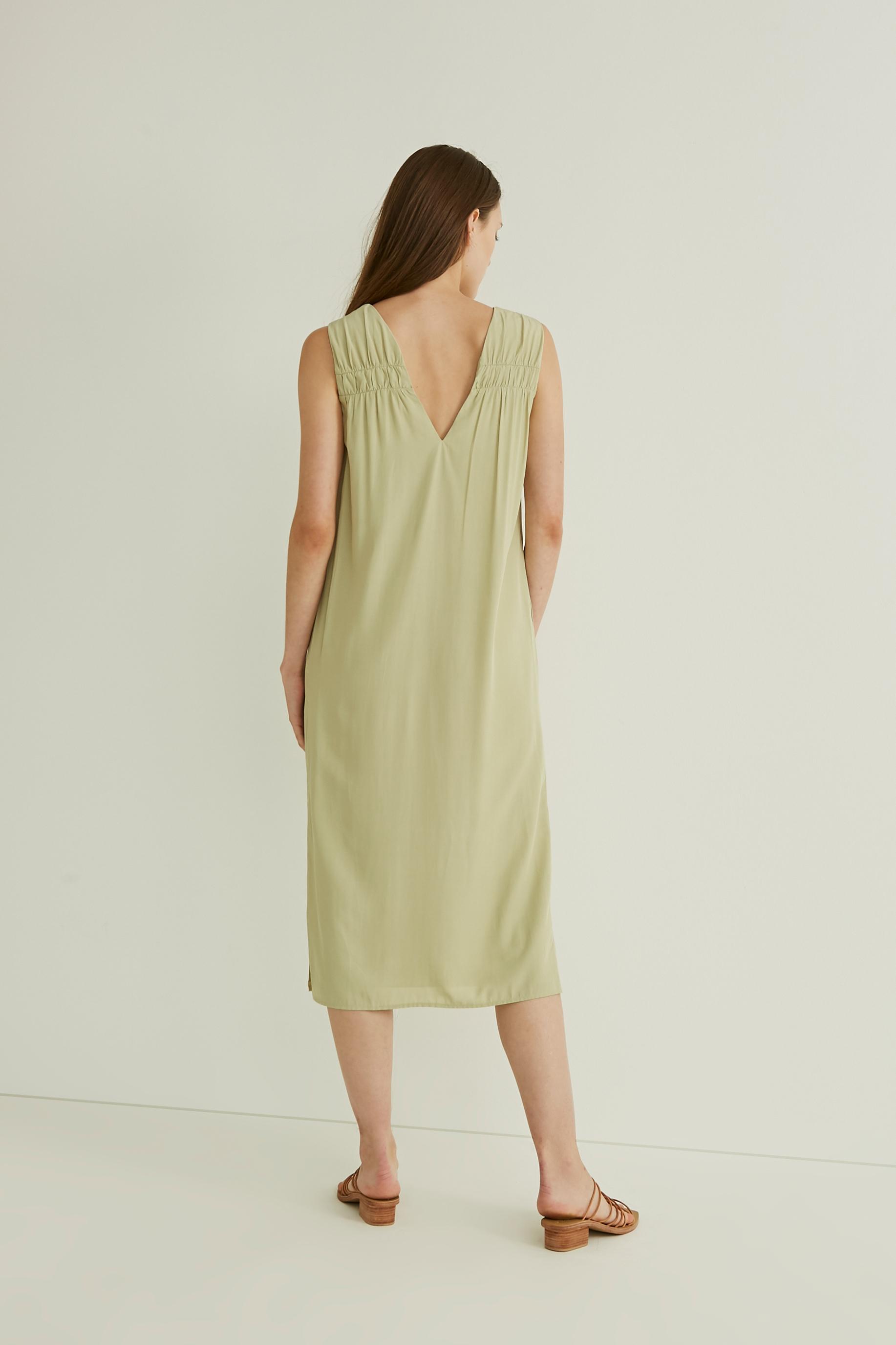 Gathered V-Neck Midi Dress