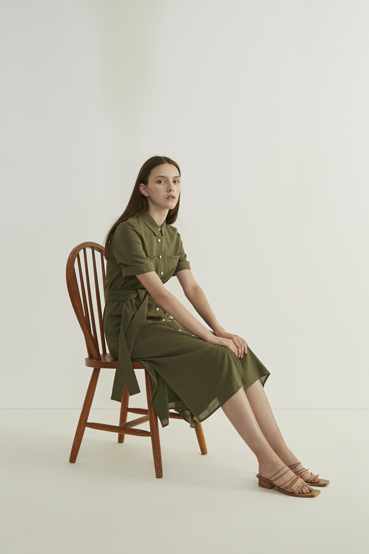 Linen Button-Down Shirt Dress