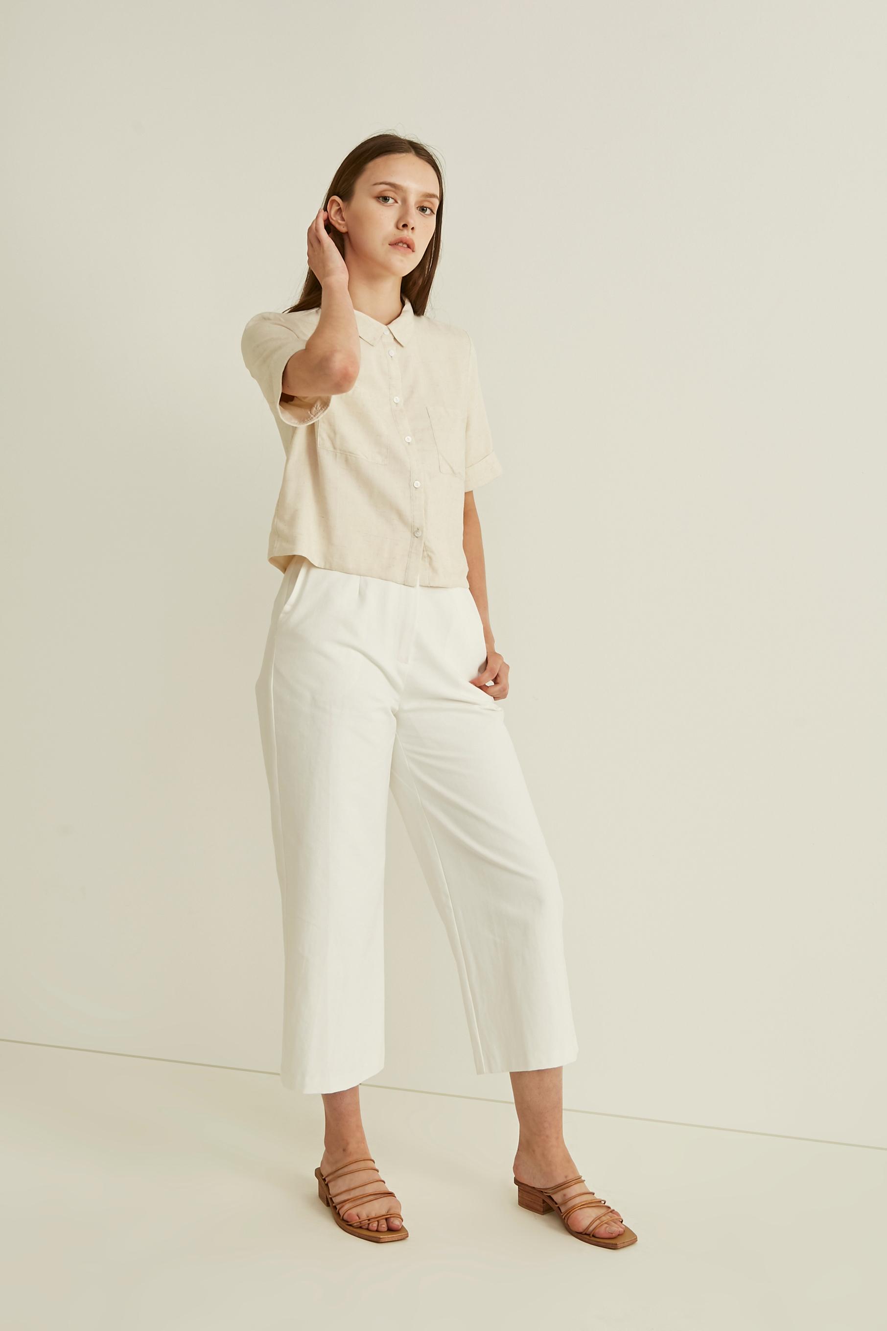 Linen Cropped Shirt