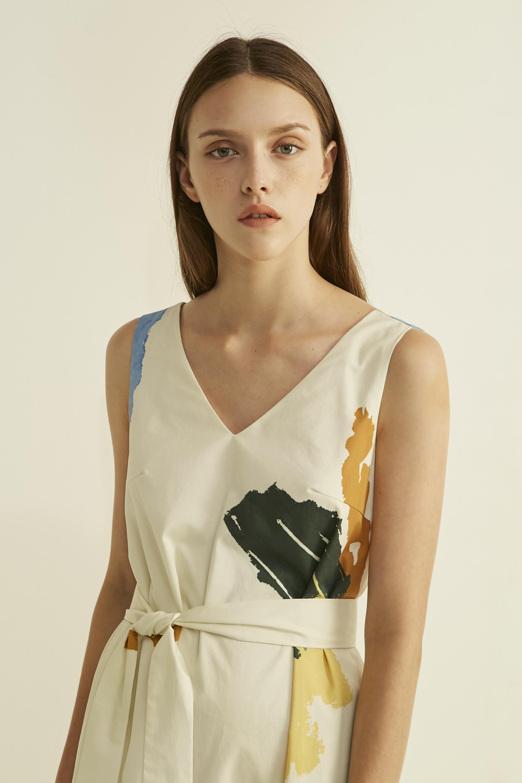 Fragments Cotton Midi Dress