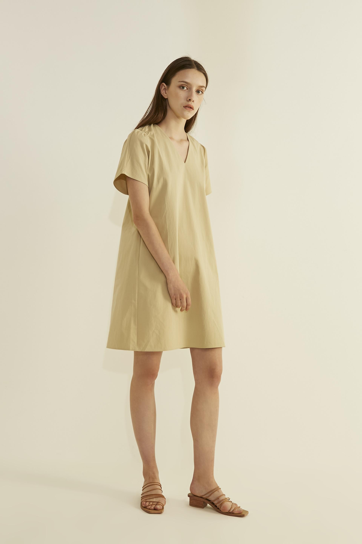 Gathered Shoulder Shift Dress