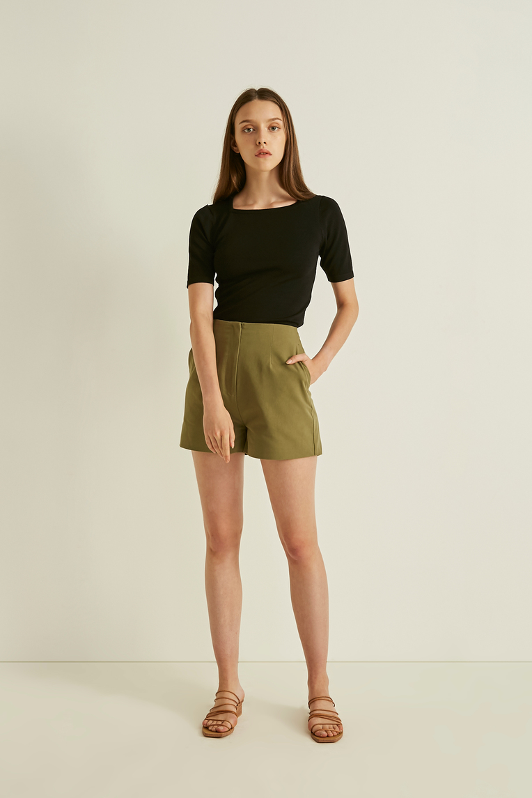 Cotton High-Waisted Shorts