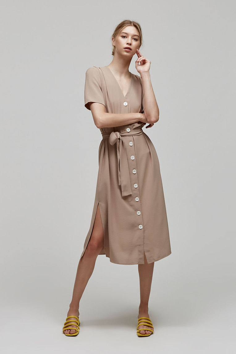 Button-Down Gathered Dress