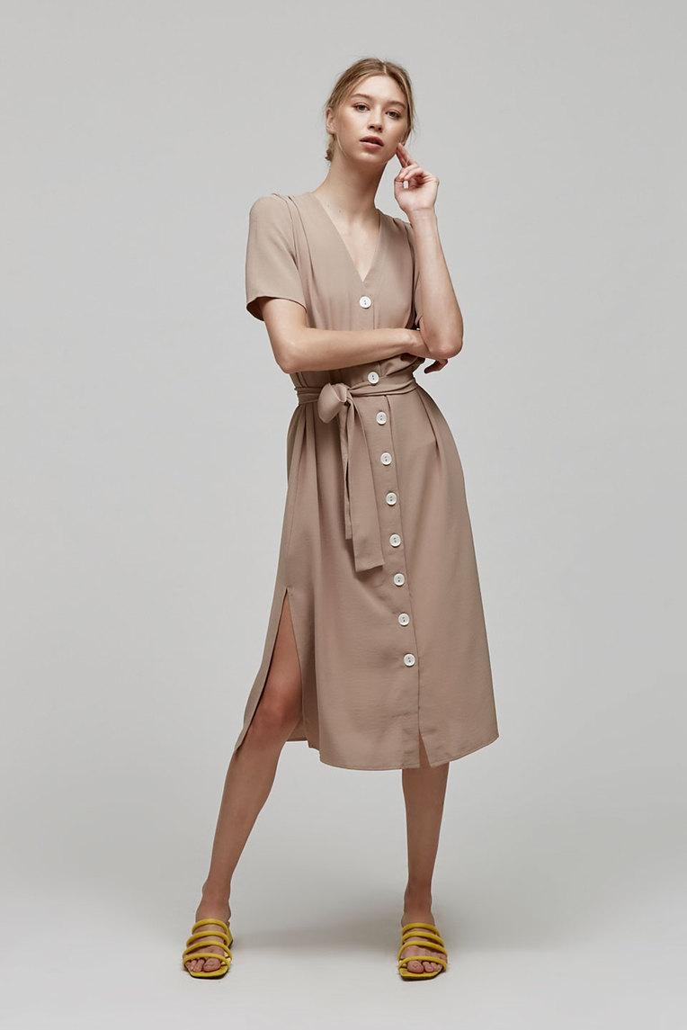 Button-Down Gathered Dress