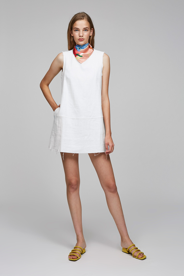 Frayed Linen Dress