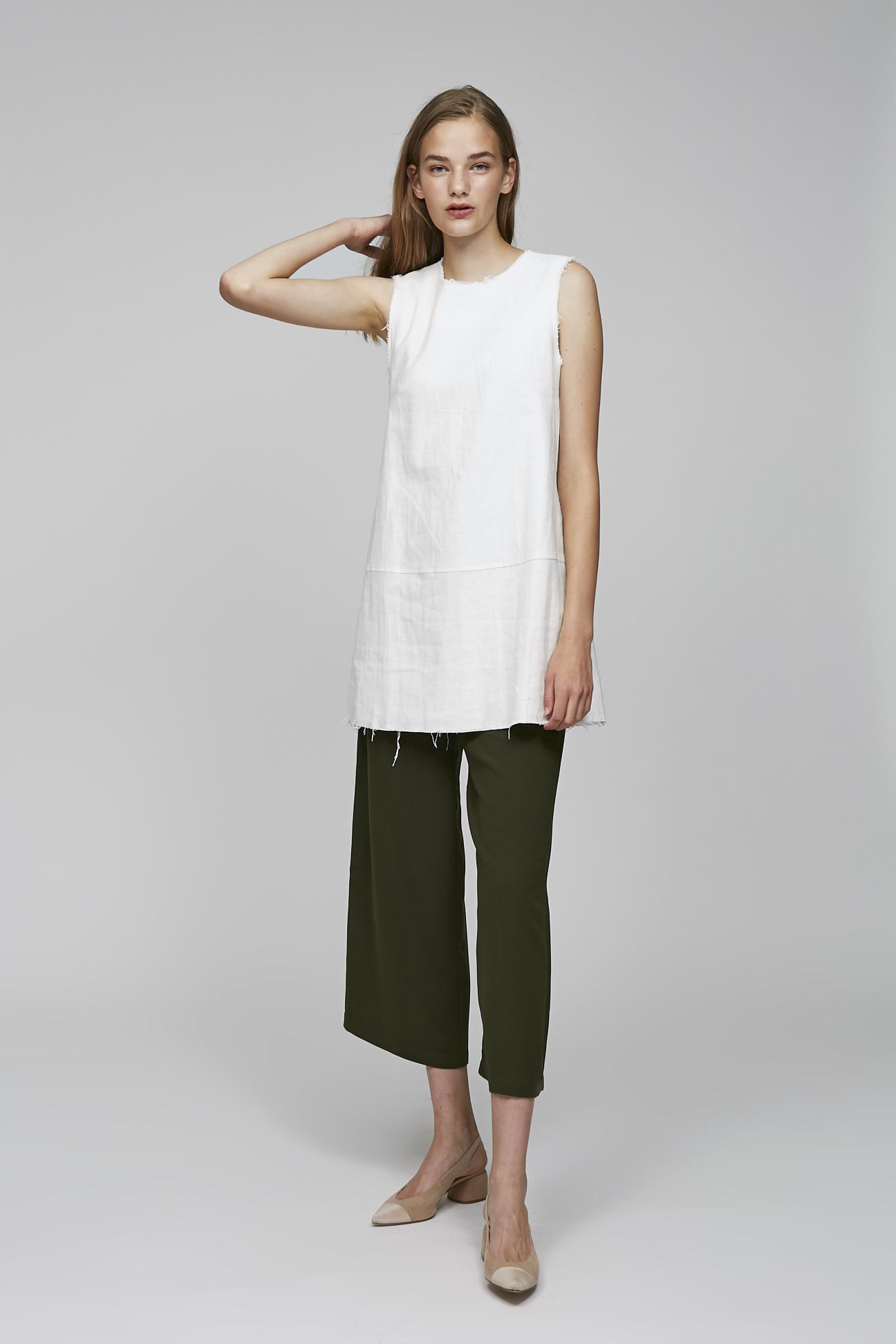 Frayed Linen Dress