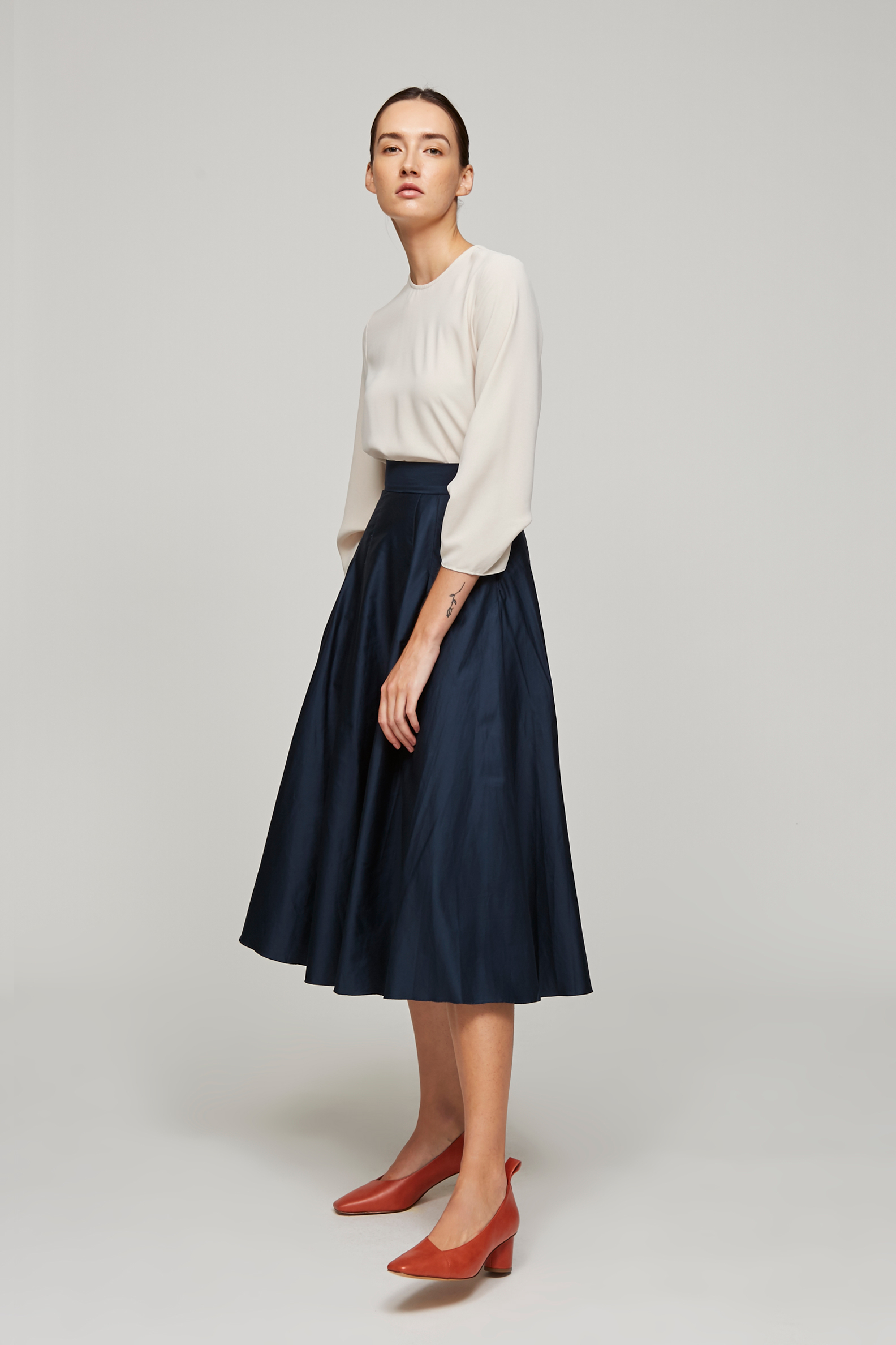 Cotton Midi Skirt