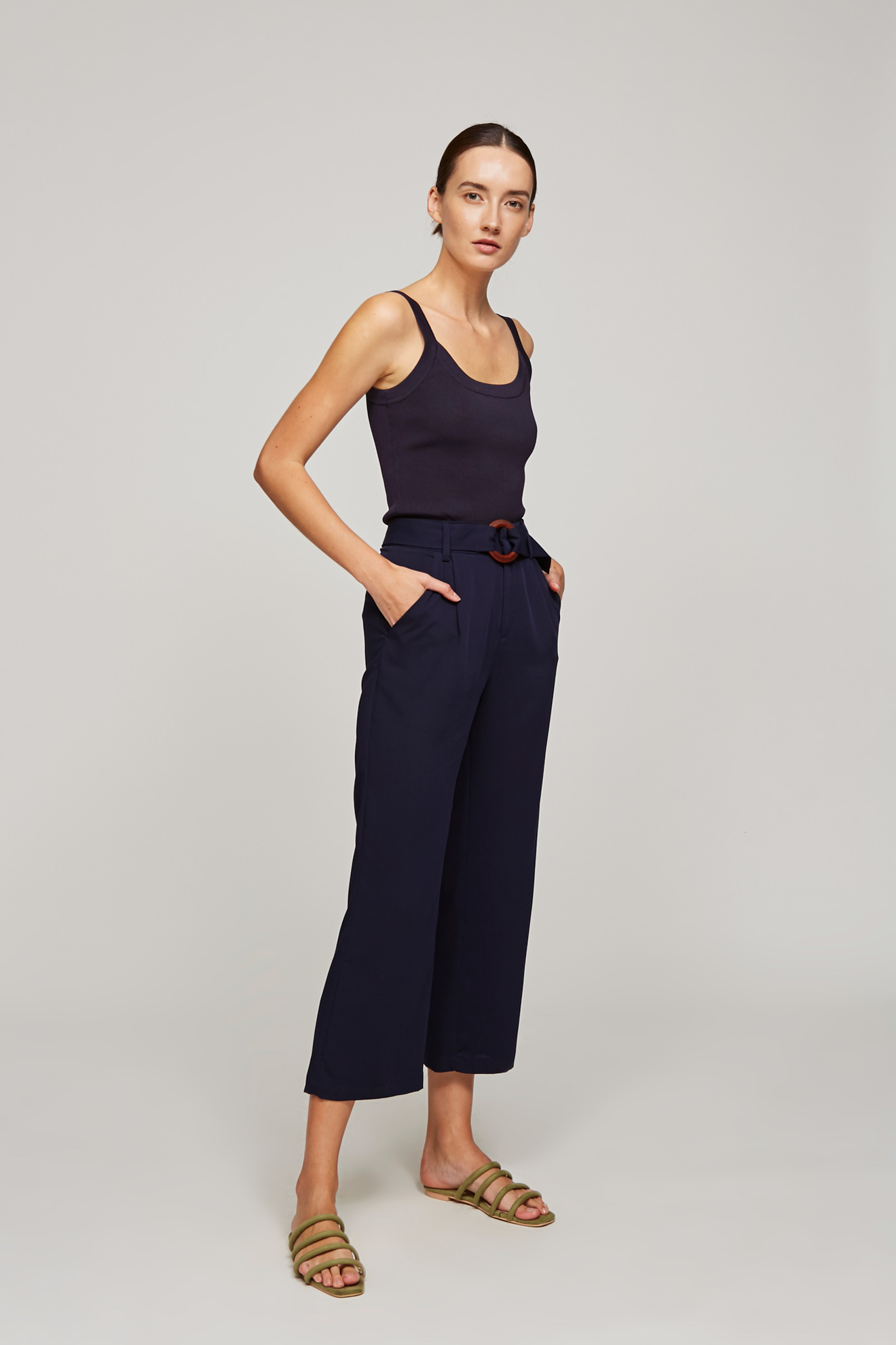 High-Waisted Belted Pants
