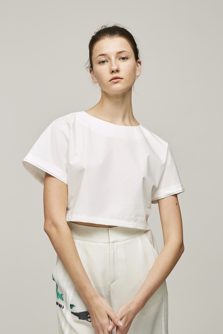 Crisp Cotton Cropped Top