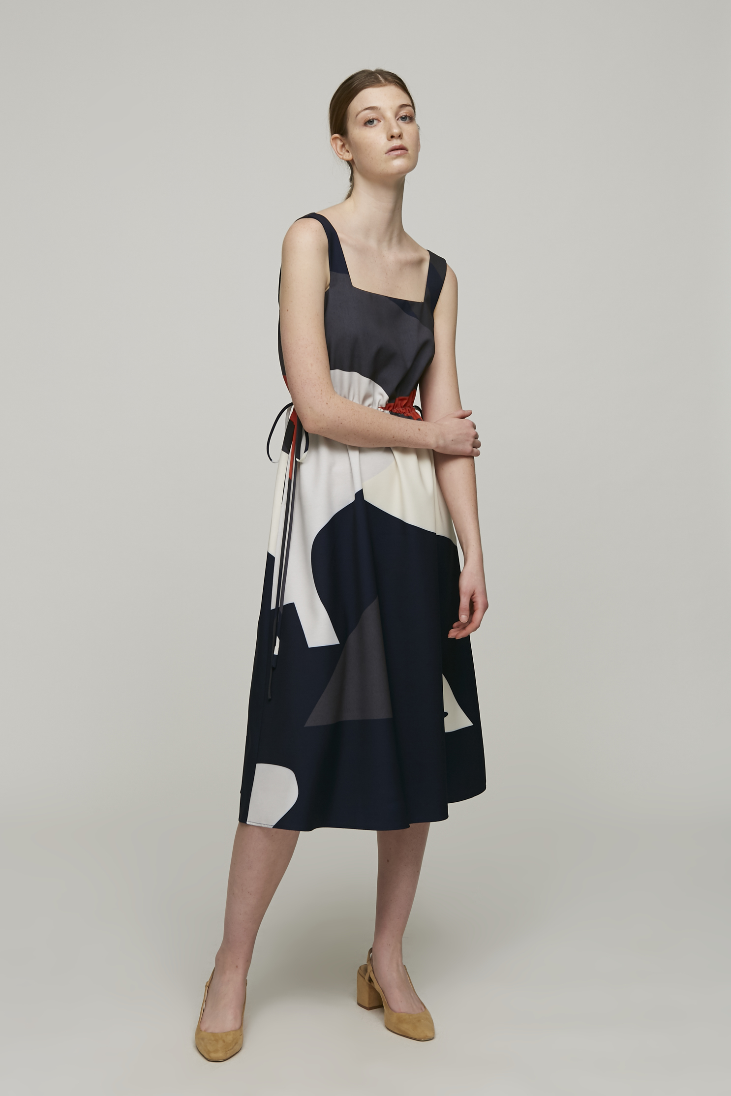 Roadmap Square-neck Midi Dress