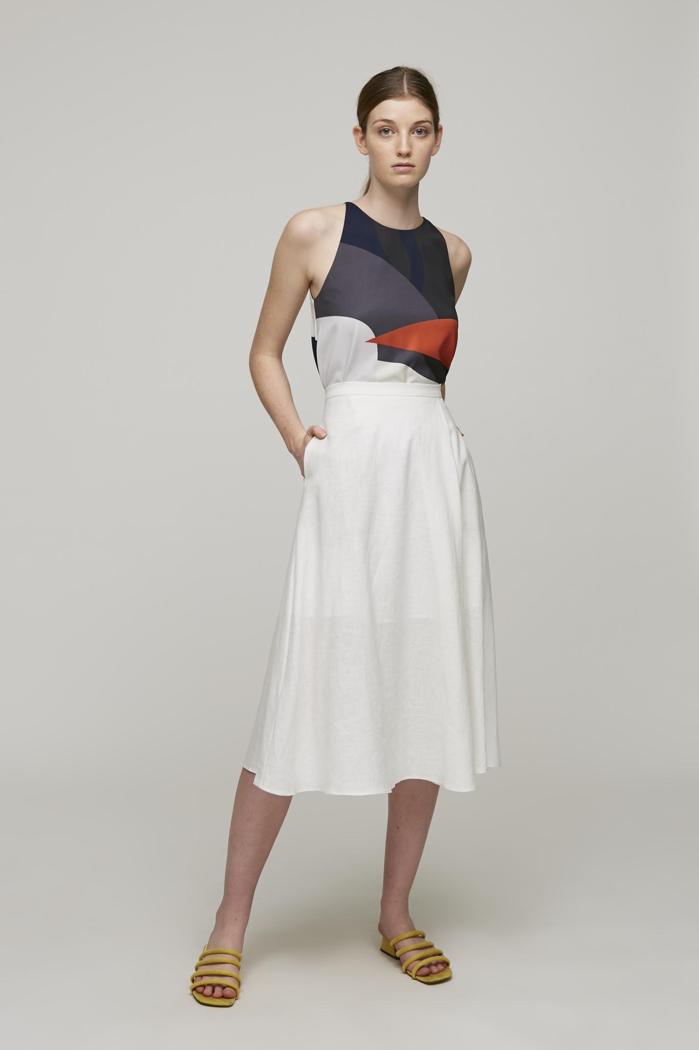 Linen Midi Skirt