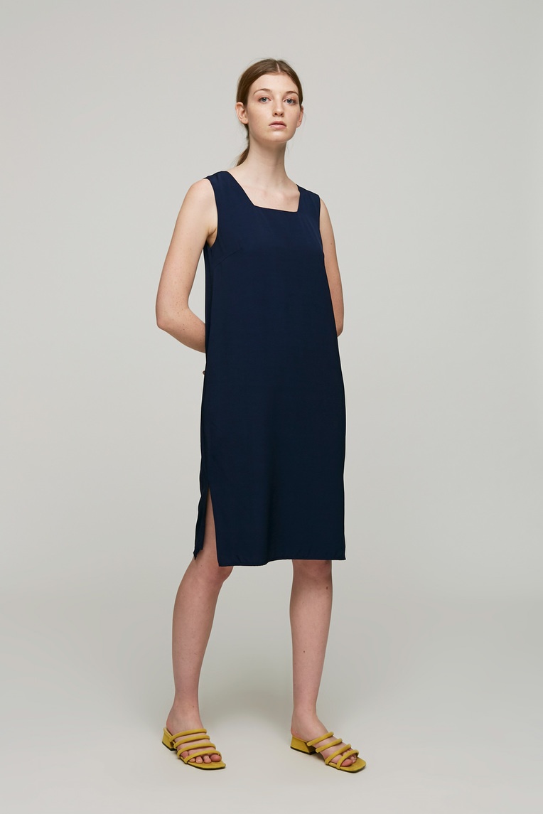 Square-Neck Shift Dress