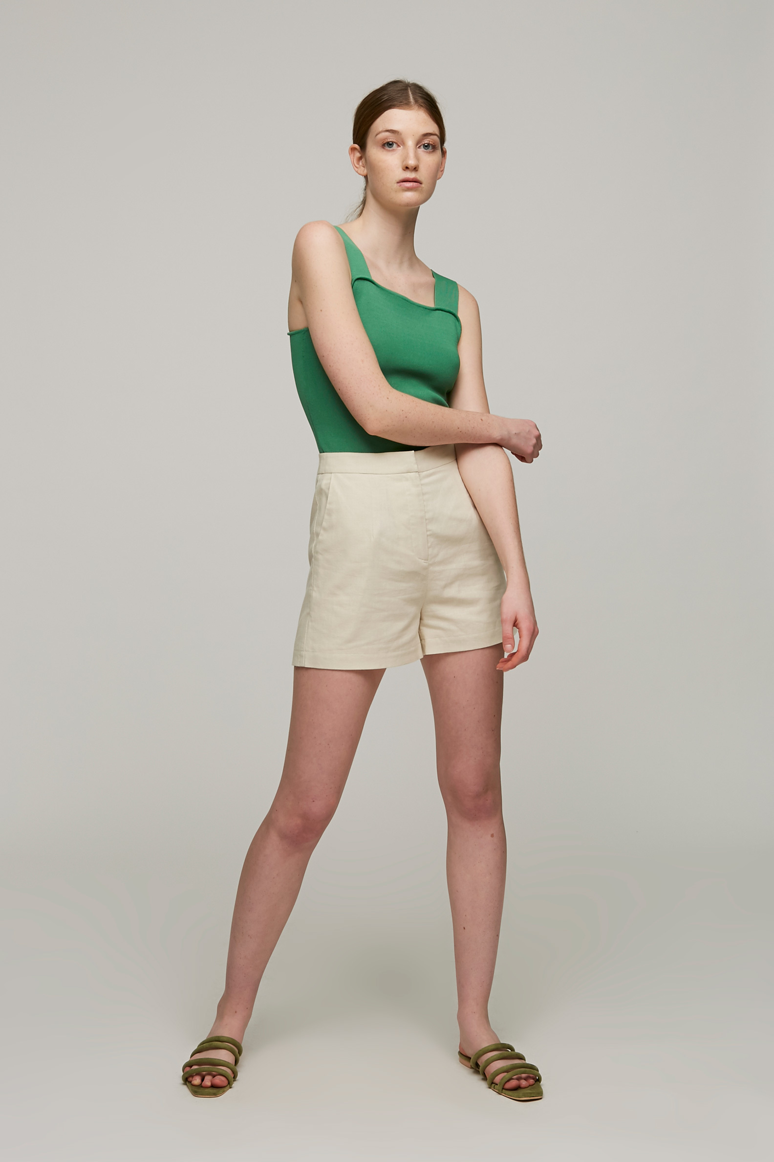 Linen High-Waisted Shorts