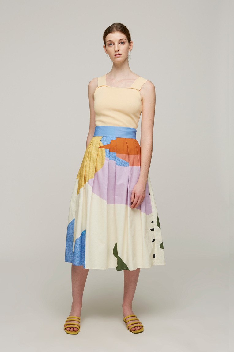 Roadmap Cotton Pleated Skirt