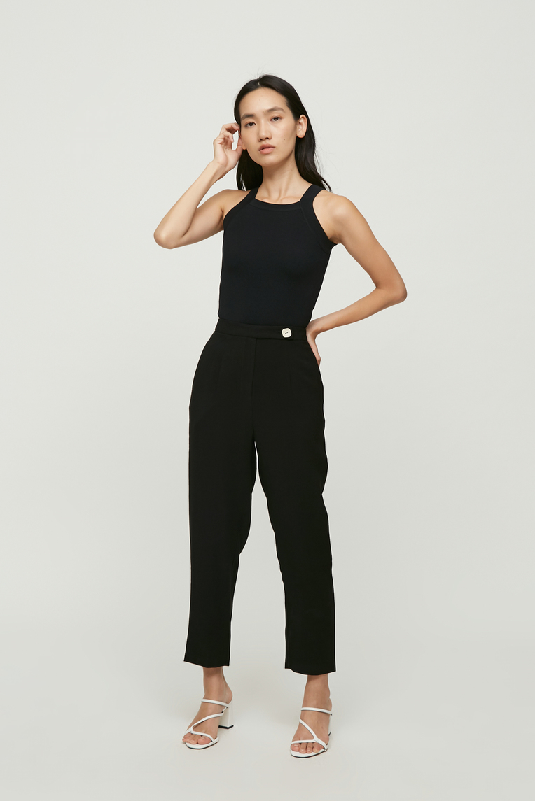 Contrast Button Tapered Pants
