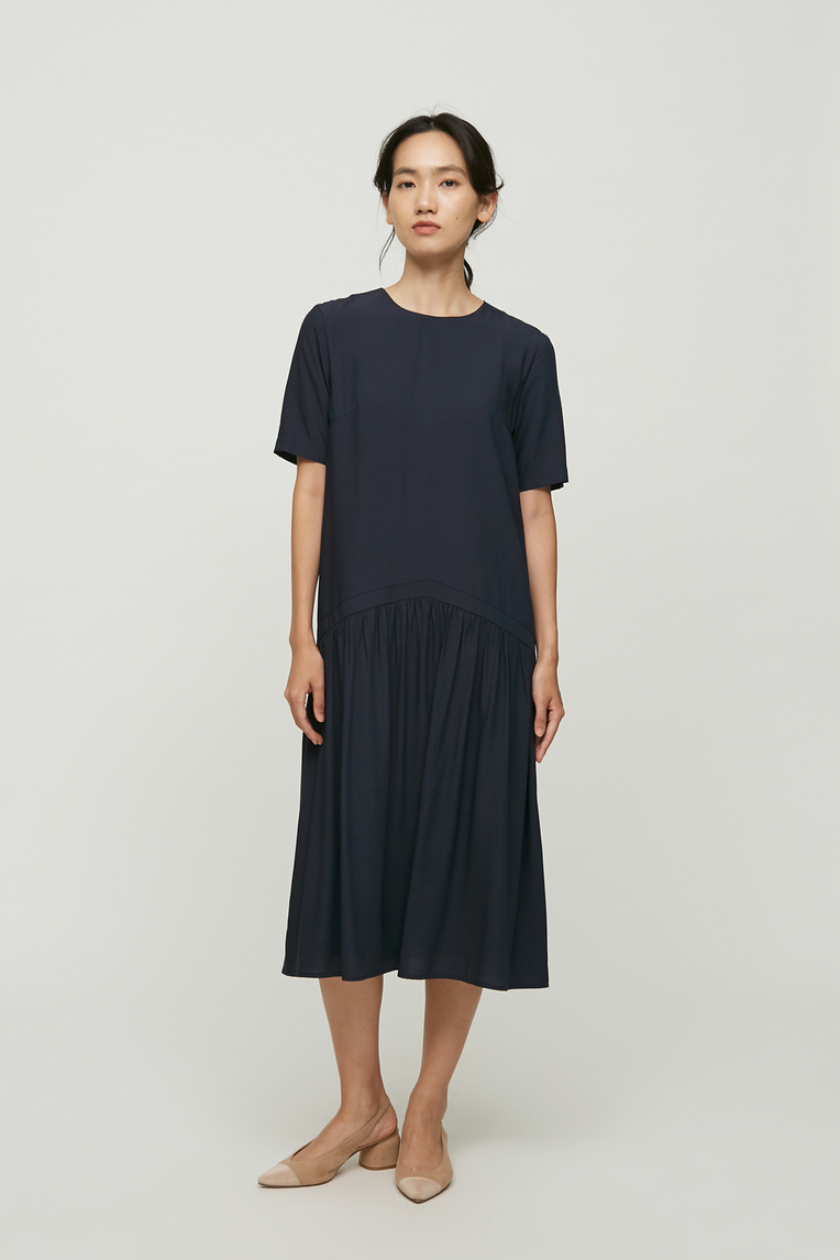 Gathered Shift Dress
