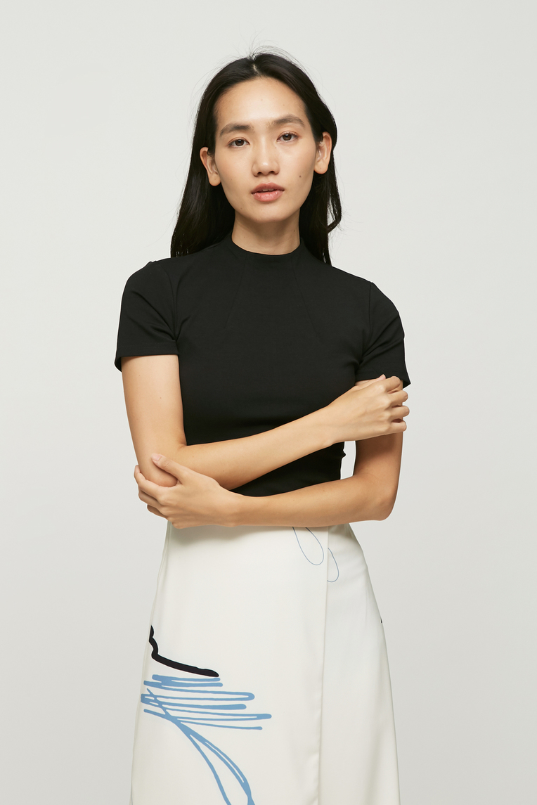 Raised Neck Jersey Top