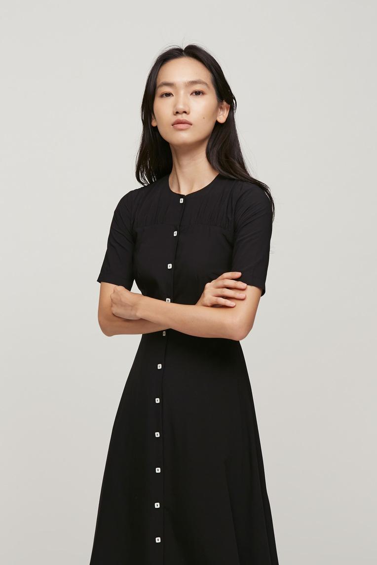 Contrast Button Midi Dress