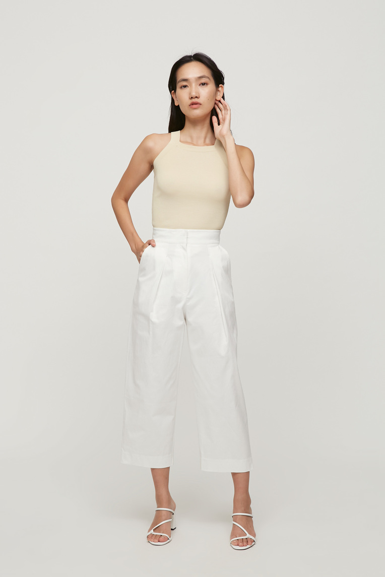 Cotton Pleat Pants