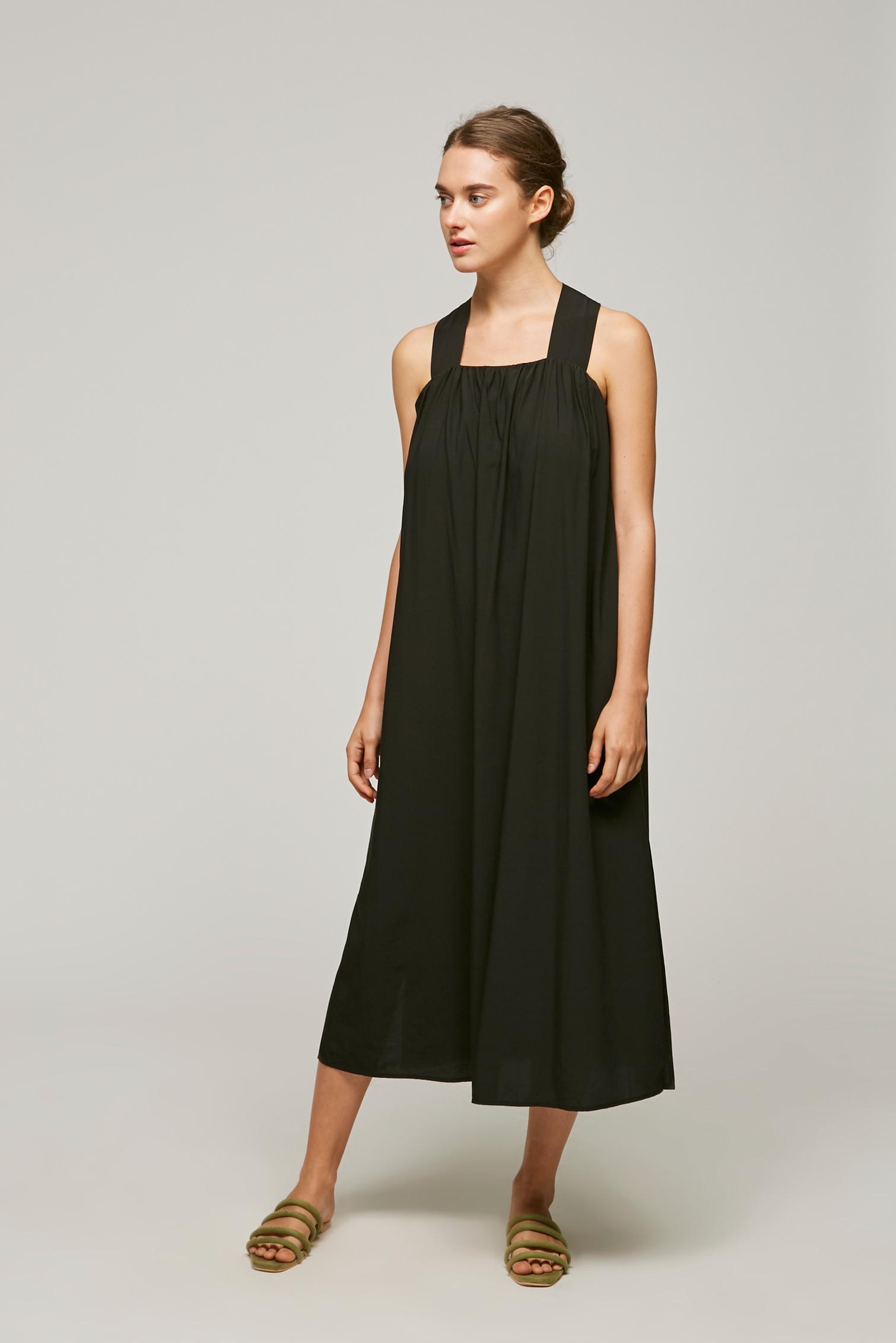 Gathered V-Back Maxi Dress