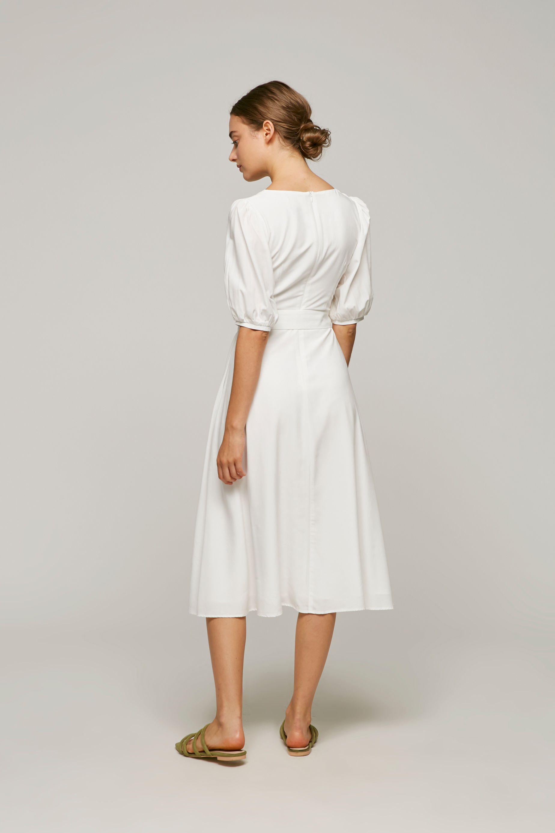 Square-Neck Belted Midi Dress